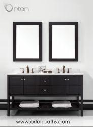 Dos lavabos de cerámica de América del Norte de la vanidad de madera de roble Muebles de Baño