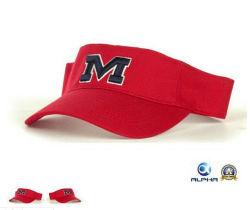 Red Cotton 3D-Stickerei OEM Logo Sports Sun Visor Hats Caps