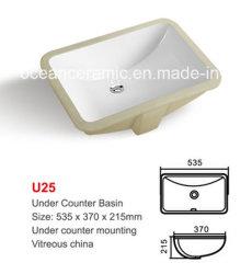 N° U25 sob a bacia de fixação do contador de cerâmica, lavatório, lavabo