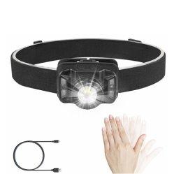 Recargables USB FARO DELANTERO, FAROS LED linterna con luz roja de advertencia, Sensor de movimiento portátil resistente al agua, Interruptor de faro de LED para emergencia al aire libre