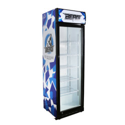 1 Puerta de vidrio comercial Ver folleto de la nevera botella vertical Enfriador de bebidas con dosel de iluminación LED Display marca OEM