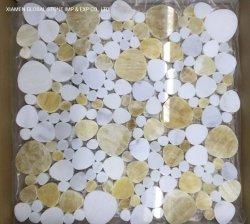 Mezcla de color Amarillo/Blanco + mármol ónix miel azulejos de mosaico de diseño en forma de corazón para pared paneles Backsplash Baño Cocina