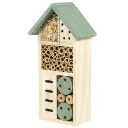 Color natural Bee House de madera/Artesanía de jardín de madera/Bird House/Hotel de insectos (LW2021-59)