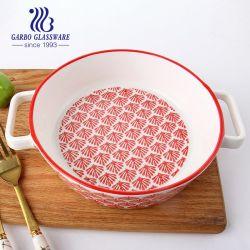 Nova chegada Heat-Resistant porcelana profunda jantar com a alavanca da placa de cerâmica de cozedura panelas Placa Alimentar Tc65060970-YC2