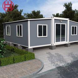منزل صغير قابل للنقل رخيصة منازل بالجملة وعاء قابل للتوسيع 20 قدم 40 قدم وغرفتى نوم على الجانب المفتوح