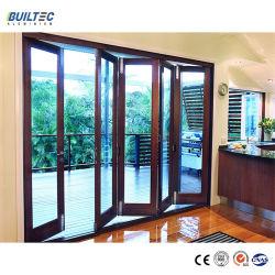 建築材料の木の穀物のアルミニウムプロフィール二重ガラスアルミニウム折るガラスドア