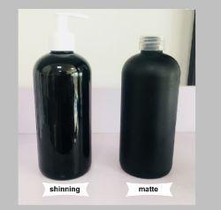 Amostra grátis 500ml de PET transparente em plástico preto brilhando/lado fosco Álcool Higienizador Garrafas de spray