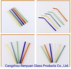 Venda por grosso de borossilicato curvo reta reutilizáveis Personalizado Vidro cristal palha potável