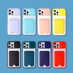 半透明プッシュウィンドウ 9 カラーカードパッケージ電話ケース、ソフト TPU iPhone ケース 11/12/13/X/Xs/XR/PRO/PRO Max/Mini 用携帯電話ケース(カード付き) ホルダー、クリア