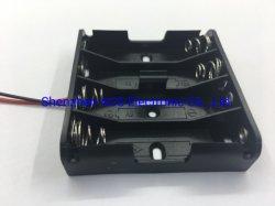 導線が付いているAcs PPのプラスチック4穴4*AAの電池ケース