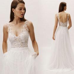 Sans manches robes de mariée Tulle dentelle robe de mariée une ligne de L528