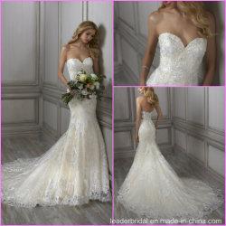 Mermaid vestido de noiva punhos reforçados Strapless Sweetheart Lace Suite Bata A165