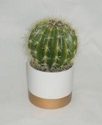 Faux Cactus en céramique du semoir avec petite roche - Cactus artificiel pour la décoration intérieure