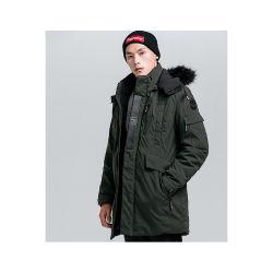 Los hombres algodón Casual estilo Collar piel desmontable Parka chaqueta