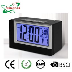Display LCD grande de escritorio reloj alarma con sensor de luz de la fecha y la retroiluminación