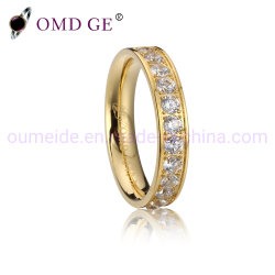 Or personnalisée Titanium anneaux en acier Bijoux