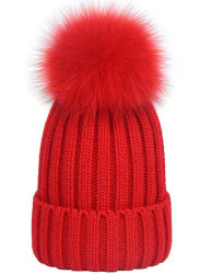 Groothandel 100% Acryl Custom High Quality Fur Winter warm gebreid Beanie Hat met POM POM