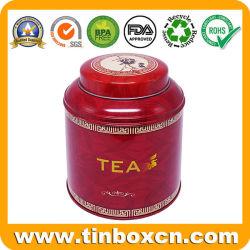 光沢のあるニスが付いている普及したカスタマイズされた金属の茶小さなかんの食品包装ボックス円形の缶の茶錫