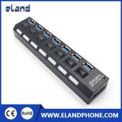 Elandphone Slim 5Gb/s 7 puertos USB 3.0 HUB Spliter Adaptador de alta velocidad con Cable para PC Mac®.