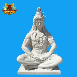 Mano esterna della decorazione che intaglia il signore indiano di marmo bianco a grandezza naturale Shiva Statue del dio