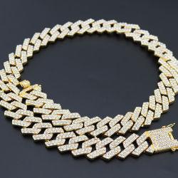 힙합 힙합 남자의 쿠바 금 사슬 목걸이 20mm 3차원 다이아몬드 다이아몬드 두꺼운 합금 큰 사슬