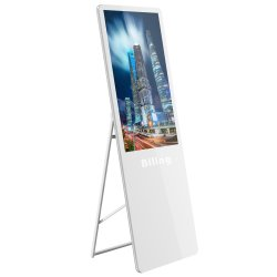 شاشة عرض إعلان محمولة LED IPAD Kiosk LCD مشغل الفيديو 43 أضواء الإعلان في وضع الوقوف على أرضية البوصة LCD شاشة العرض الرقمية