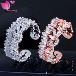 الصين الموردين بالجملة المجوهرات المبدعة 3A مربع Zircon مفتوح حلقة