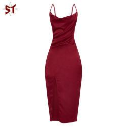 Senhoras Strappy cobertura acetinada vestido MIDI nova moda vestido longo com vestido de Divisão Dianteiro