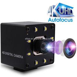 음박형 비전 4K 자동초점 웹캠 왜곡 없음 렌즈 Imx415 Ultra HD Surveillance UVC Mini USB 카메라(Windows, Linux, Android용 화이트 LED 포함