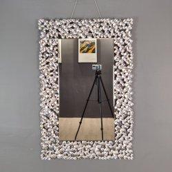 Mobiliario de lujo aplastó a la decoración de mosaico de diamantes caída de Arte Plaza largo rectángulo redondeado espejo de pared