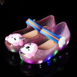 Светодиод обувь для детей обувь светодиодного освещения сандалии желе обувь