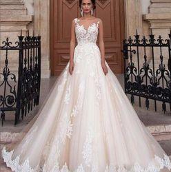 2019 La moda sexy vestido de encaje fino blanco vestido de dama vestido de novia