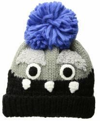 100% أكريليك شتاء مخصص دافئ مطوي كعب للأطفال قبعة بياني مع نمط الحيوانات