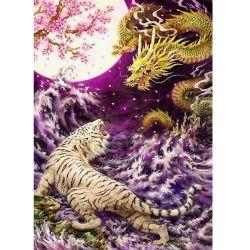 Dragon chinois la lutte contre le Tigre Blanc 5D DIY Diamond semoir plein de peinture