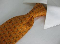 Cor dourada da moda masculina Verificar Design impresso gravatas de seda