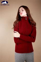 Cachemira de cuello alto acanalado Cardigan con cierre de cremallera-suéter de cachemira-señoras suéter de cachemira