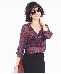 2019 регулируемый стопор оболочки троса чисто Клетчатую шифон блуза для женщин
