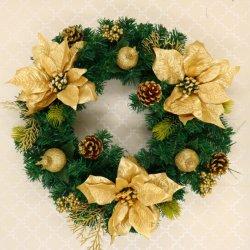 45cm couronne de Noël porte la pendaison Garland avec de bonnes gerbe de fleurs les cônes de pin naturel des baies décoratives guirlande de noël