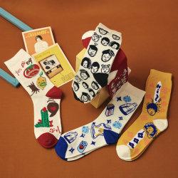Calzini giapponesi d'avanguardia delle coppie della via delle calze dell'illustrazione del fumetto di divertimento di marca