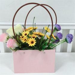 Saco de papel kraft à prova de água portátil almofadado Flower Embalagem Dom Cesta de Flores Floreira