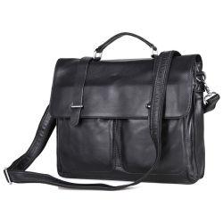 Sac en cuir noir Vintage Document Messenger Bag Hommes