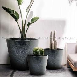 Hauptdekoration-einfacher runder Plastikblumen-Potenziometer-Pflanzenpotentiometer-Garten-Pflanzer mit keramischem Effekt für Innen- und im Freien