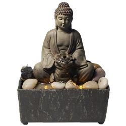 hecho personalizado Mini Inicio decoración de interiores de la tabla de Arte Polyresin Buda de resina de fuente de agua con piedras