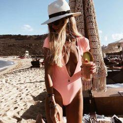Beachwear anteriore aperto del costume da bagno di V dell'un pezzo solo sexy profondo delle donne