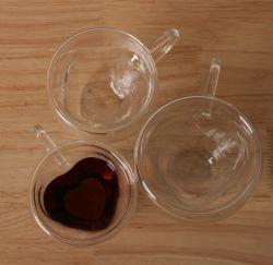 Venda quente Coração chávena de café em vidro vaso de parede dupla