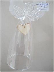 Очистить стекло Рождества Ангел с деревянными сердца и Angel внутри