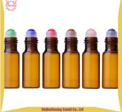 製品の豪華な水晶ヒスイのローラー球を向いて10のMlの香水、精油のためのガラスタケローラーのびんを空けなさい