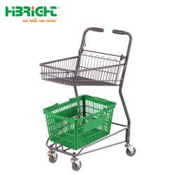 Metallrahmen Doppelkorb Einkaufwagen für Lebensmittelgeschäft
