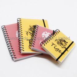 Espiral de PP impresso colorido Papelaria Notebook com faixa elástica