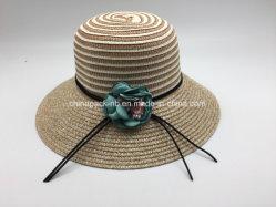 Plage d'été femelle Rose large bord Chapeau de paille de la Dentelle tissu chapeaux de godet